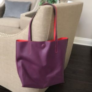 "13 X 15"" faux leather purple/red tote"